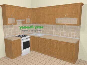 Угловая кухня МДФ матовый в стиле кантри 7,2 м², 170 на 270 см, Ольха, верхние модули 72 см, отдельно стоящая плита