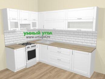 Угловая кухня МДФ матовый  в скандинавском стиле 7,2 м², 170 на 270 см, Белый, верхние модули 72 см, отдельно стоящая плита