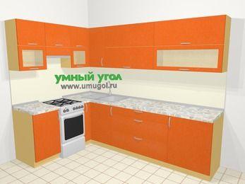 Угловая кухня МДФ металлик в современном стиле 7,2 м², 170 на 270 см, Оранжевый металлик, верхние модули 72 см, отдельно стоящая плита
