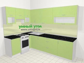 Угловая кухня МДФ металлик в современном стиле 7,2 м², 170 на 270 см, Салатовый металлик, верхние модули 72 см, отдельно стоящая плита