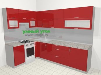 Угловая кухня МДФ глянец в современном стиле 7,2 м², 170 на 270 см, Красный, верхние модули 72 см, отдельно стоящая плита