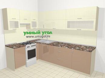 Угловая кухня МДФ глянец в современном стиле 7,2 м², 170 на 270 см, Жасмин / Капучино, верхние модули 72 см, отдельно стоящая плита