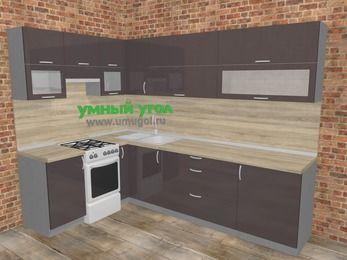 Угловая кухня МДФ глянец в стиле лофт 7,2 м², 170 на 270 см, Шоколад, верхние модули 72 см, отдельно стоящая плита