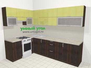 Кухни пластиковые угловые в современном стиле 7,2 м², 170 на 270 см, Желтый Галлион глянец / Дерево Мокка, верхние модули 72 см, отдельно стоящая плита
