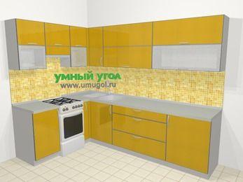 Кухни пластиковые угловые в современном стиле 7,2 м², 170 на 270 см, Желтый глянец, верхние модули 72 см, отдельно стоящая плита