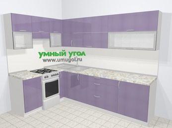 Кухни пластиковые угловые в современном стиле 7,2 м², 170 на 270 см, Сиреневый глянец, верхние модули 72 см, отдельно стоящая плита