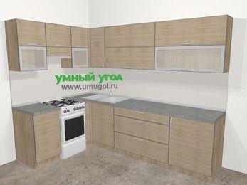 Кухни пластиковые угловые в стиле лофт 7,2 м², 170 на 270 см, Чибли бежевый, верхние модули 72 см, отдельно стоящая плита