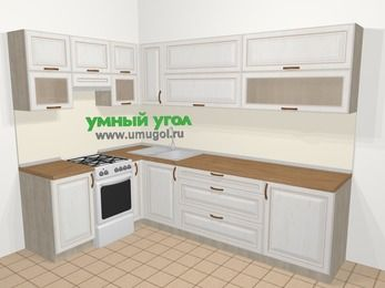 Угловая кухня МДФ патина в классическом стиле 7,2 м², 170 на 270 см, Лиственница белая, верхние модули 72 см, отдельно стоящая плита