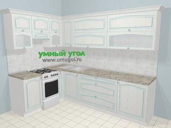 Угловая кухня МДФ патина в стиле прованс 7,2 м², 170 на 270 см, Лиственница белая, верхние модули 72 см, отдельно стоящая плита