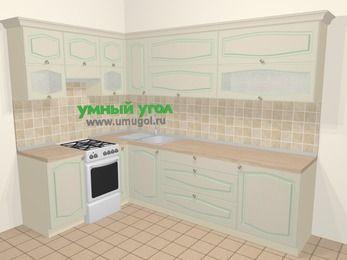 Угловая кухня МДФ патина в стиле прованс 7,2 м², 170 на 270 см, Керамик, верхние модули 72 см, отдельно стоящая плита