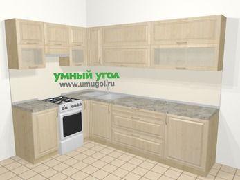 Угловая кухня из массива дерева в классическом стиле 7,2 м², 170 на 270 см, Светло-коричневые оттенки, верхние модули 72 см, отдельно стоящая плита