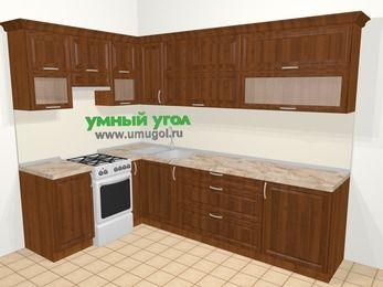 Угловая кухня из массива дерева в классическом стиле 7,2 м², 170 на 270 см, Темно-коричневые оттенки, верхние модули 72 см, отдельно стоящая плита