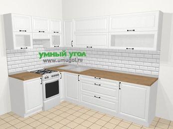 Угловая кухня из массива дерева в скандинавском стиле 7,2 м², 170 на 270 см, Белые оттенки, верхние модули 72 см, отдельно стоящая плита