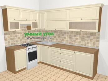 Угловая кухня из массива дерева в стиле кантри 7,2 м², 170 на 270 см, Бежевые оттенки, верхние модули 72 см, отдельно стоящая плита