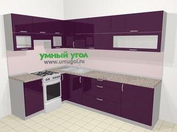 Угловая кухня МДФ глянец в современном стиле 7,2 м², 170 на 270 см, Баклажан, верхние модули 72 см, отдельно стоящая плита