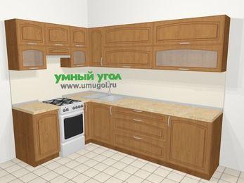 Угловая кухня МДФ патина в классическом стиле 7,2 м², 170 на 270 см, Ольха, верхние модули 72 см, отдельно стоящая плита
