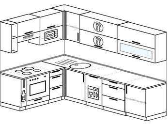 Угловая кухня 7,2 м² (1,7✕2,7 м), верхние модули 72 см, посудомоечная машина, верхний модуль под свч, встроенный духовой шкаф