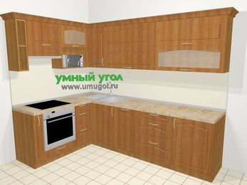 Угловая кухня МДФ матовый в классическом стиле 7,2 м², 170 на 270 см, Вишня, верхние модули 72 см, посудомоечная машина, верхний модуль под свч, встроенный духовой шкаф