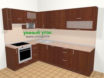 Угловая кухня МДФ матовый в классическом стиле 7,2 м², 170 на 270 см, Вишня темная, верхние модули 72 см, посудомоечная машина, верхний модуль под свч, встроенный духовой шкаф