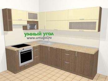 Угловая кухня МДФ матовый в современном стиле 7,2 м², 170 на 270 см, Ваниль / Лиственница бронзовая, верхние модули 72 см, посудомоечная машина, верхний модуль под свч, встроенный духовой шкаф