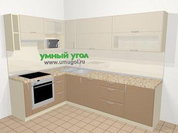 Угловая кухня МДФ матовый в современном стиле 7,2 м², 170 на 270 см, Керамик / Кофе, верхние модули 72 см, посудомоечная машина, верхний модуль под свч, встроенный духовой шкаф
