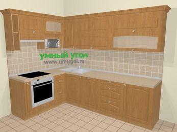 Угловая кухня МДФ матовый в стиле кантри 7,2 м², 170 на 270 см, Ольха, верхние модули 72 см, посудомоечная машина, верхний модуль под свч, встроенный духовой шкаф