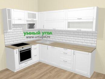Угловая кухня МДФ матовый  в скандинавском стиле 7,2 м², 170 на 270 см, Белый, верхние модули 72 см, посудомоечная машина, верхний модуль под свч, встроенный духовой шкаф