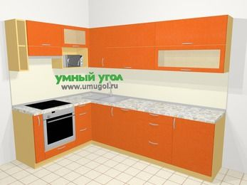 Угловая кухня МДФ металлик в современном стиле 7,2 м², 170 на 270 см, Оранжевый металлик, верхние модули 72 см, посудомоечная машина, верхний модуль под свч, встроенный духовой шкаф