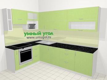 Угловая кухня МДФ металлик в современном стиле 7,2 м², 170 на 270 см, Салатовый металлик, верхние модули 72 см, посудомоечная машина, верхний модуль под свч, встроенный духовой шкаф