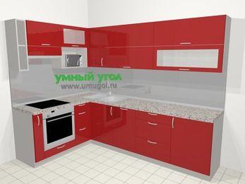 Угловая кухня МДФ глянец в современном стиле 7,2 м², 170 на 270 см, Красный, верхние модули 72 см, посудомоечная машина, верхний модуль под свч, встроенный духовой шкаф