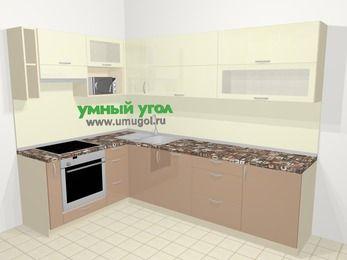 Угловая кухня МДФ глянец в современном стиле 7,2 м², 170 на 270 см, Жасмин / Капучино, верхние модули 72 см, посудомоечная машина, верхний модуль под свч, встроенный духовой шкаф