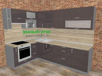Угловая кухня МДФ глянец в стиле лофт 7,2 м², 170 на 270 см, Шоколад, верхние модули 72 см, посудомоечная машина, верхний модуль под свч, встроенный духовой шкаф