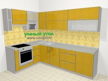 Кухни пластиковые угловые в современном стиле 7,2 м², 170 на 270 см, Желтый глянец, верхние модули 72 см, посудомоечная машина, верхний модуль под свч, встроенный духовой шкаф