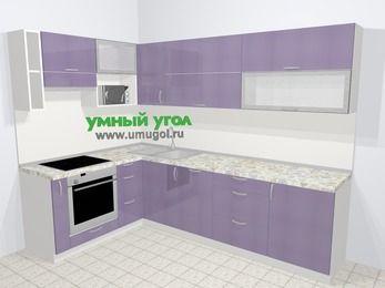 Кухни пластиковые угловые в современном стиле 7,2 м², 170 на 270 см, Сиреневый глянец, верхние модули 72 см, посудомоечная машина, верхний модуль под свч, встроенный духовой шкаф