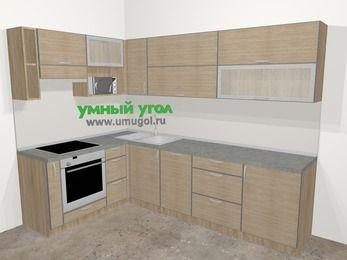 Кухни пластиковые угловые в стиле лофт 7,2 м², 170 на 270 см, Чибли бежевый, верхние модули 72 см, посудомоечная машина, верхний модуль под свч, встроенный духовой шкаф