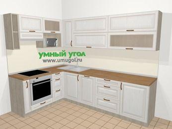 Угловая кухня МДФ патина в классическом стиле 7,2 м², 170 на 270 см, Лиственница белая, верхние модули 72 см, посудомоечная машина, верхний модуль под свч, встроенный духовой шкаф