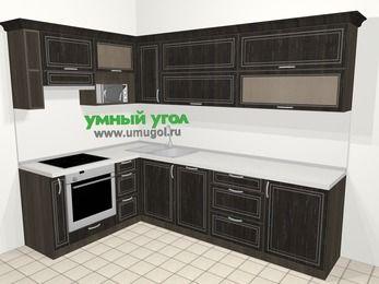 Угловая кухня МДФ патина в классическом стиле 7,2 м², 170 на 270 см, Венге, верхние модули 72 см, посудомоечная машина, верхний модуль под свч, встроенный духовой шкаф