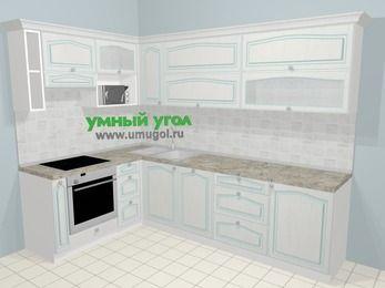 Угловая кухня МДФ патина в стиле прованс 7,2 м², 170 на 270 см, Лиственница белая, верхние модули 72 см, посудомоечная машина, верхний модуль под свч, встроенный духовой шкаф