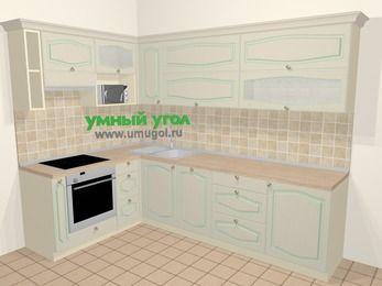 Угловая кухня МДФ патина в стиле прованс 7,2 м², 170 на 270 см, Керамик, верхние модули 72 см, посудомоечная машина, верхний модуль под свч, встроенный духовой шкаф