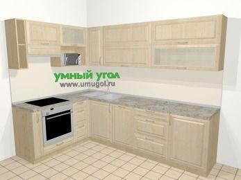 Угловая кухня из массива дерева в классическом стиле 7,2 м², 170 на 270 см, Светло-коричневые оттенки, верхние модули 72 см, посудомоечная машина, верхний модуль под свч, встроенный духовой шкаф