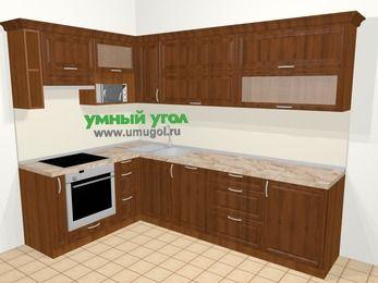 Угловая кухня из массива дерева в классическом стиле 7,2 м², 170 на 270 см, Темно-коричневые оттенки, верхние модули 72 см, посудомоечная машина, верхний модуль под свч, встроенный духовой шкаф