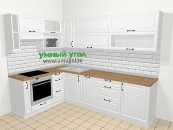 Угловая кухня из массива дерева в скандинавском стиле 7,2 м², 170 на 270 см, Белые оттенки, верхние модули 72 см, посудомоечная машина, верхний модуль под свч, встроенный духовой шкаф