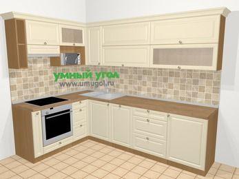 Угловая кухня из массива дерева в стиле кантри 7,2 м², 170 на 270 см, Бежевые оттенки, верхние модули 72 см, посудомоечная машина, верхний модуль под свч, встроенный духовой шкаф