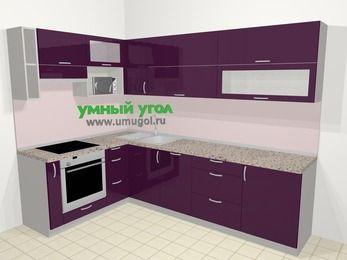 Угловая кухня МДФ глянец в современном стиле 7,2 м², 170 на 270 см, Баклажан, верхние модули 72 см, посудомоечная машина, верхний модуль под свч, встроенный духовой шкаф