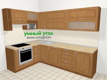 Угловая кухня МДФ патина в классическом стиле 7,2 м², 170 на 270 см, Ольха, верхние модули 72 см, посудомоечная машина, верхний модуль под свч, встроенный духовой шкаф