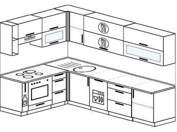 Угловая кухня 7,2 м² (1,7✕2,7 м), верхние модули 72 см, посудомоечная машина, встроенный духовой шкаф