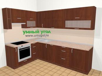Угловая кухня МДФ матовый в классическом стиле 7,2 м², 170 на 270 см, Вишня темная, верхние модули 72 см, посудомоечная машина, встроенный духовой шкаф