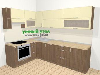 Угловая кухня МДФ матовый в современном стиле 7,2 м², 170 на 270 см, Ваниль / Лиственница бронзовая, верхние модули 72 см, посудомоечная машина, встроенный духовой шкаф