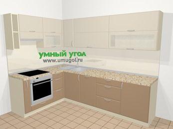 Угловая кухня МДФ матовый в современном стиле 7,2 м², 170 на 270 см, Керамик / Кофе, верхние модули 72 см, посудомоечная машина, встроенный духовой шкаф