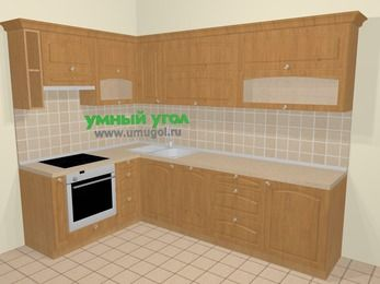 Угловая кухня МДФ матовый в стиле кантри 7,2 м², 170 на 270 см, Ольха, верхние модули 72 см, посудомоечная машина, встроенный духовой шкаф